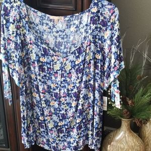 Gibson Latimer Floral A Line Blouse